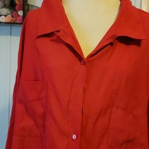 Red button down blouse 2 front pockets